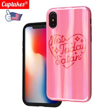 Luxury Laser Bling Soft Silicone case for iPhone 7 8 Plus X XR XS Max 6 6S Hot Pink Rose Love heart Hot Not today satan цена и фото