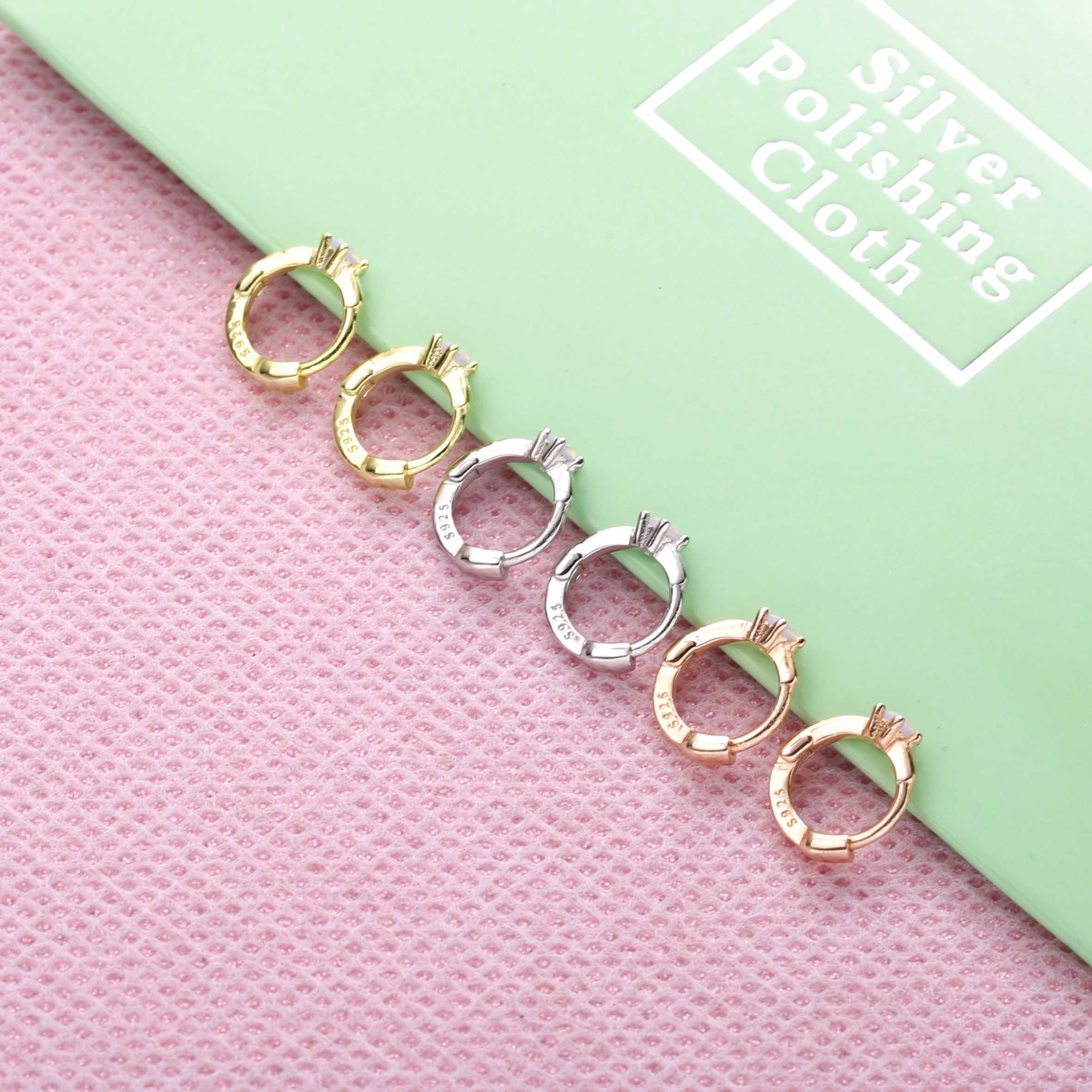 Slovecabin 925 Sterling Silver Baik Hoops Mini Lingkaran Lingkaran Wanita Anting-Anting Batu Opal Kristal Warna-warni Pelangi Zircon CZ Perhiasan