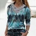 Блузка женская с длинным рукавом, модный Свободный пуловер с принтом, Повседневная рубашка с круглым вырезом, разные цвета, весна-осень