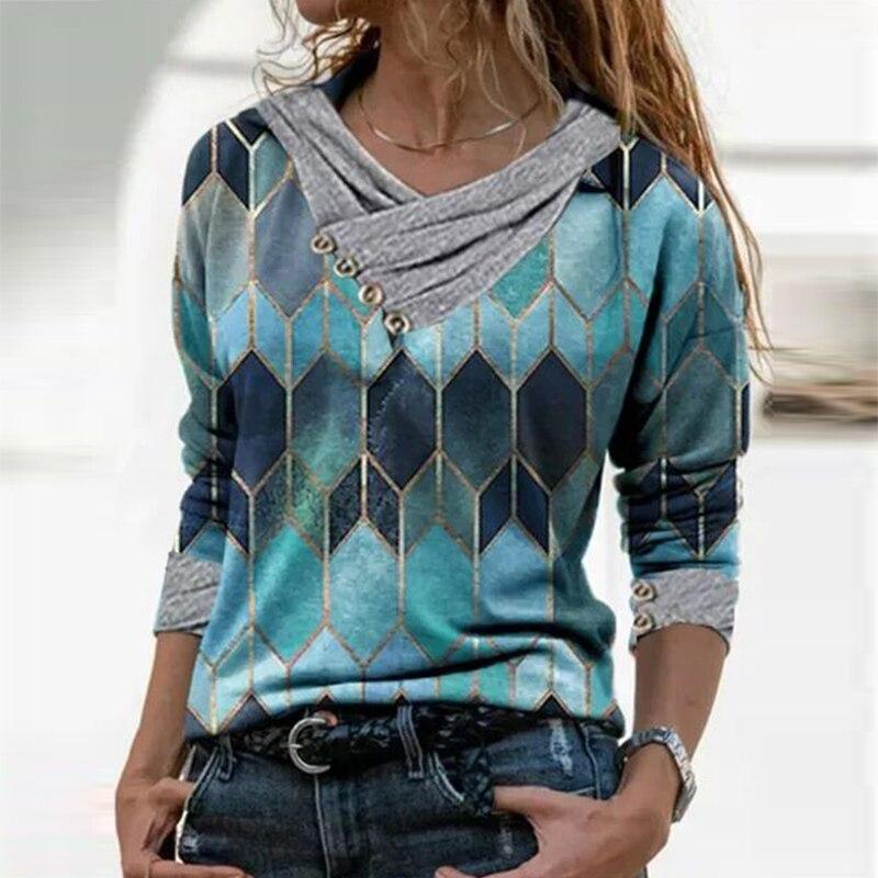 Camisas femininas moda impressão solta blusa feminina primavera outono manga longa feminina pulôver casual o pescoço multi cor das senhoras topos