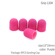 5Pcs 13*19mm 80/120/180 Sanding Caps With Rubber Grip Pedicure Polishing Sand Block Drill Accessories Foot Cuticle Tool
