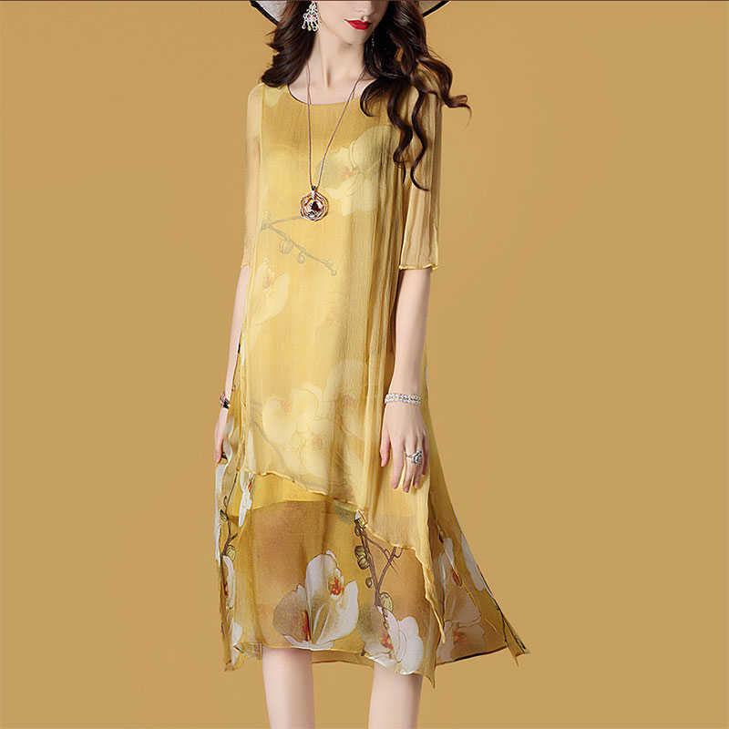 2020 Sommer Kleid Frauen Strand Boho Seide Gelb Kleid Casual Midi Mode Party Damen Kleider Vestido Mujer Kj1987 Aliexpress