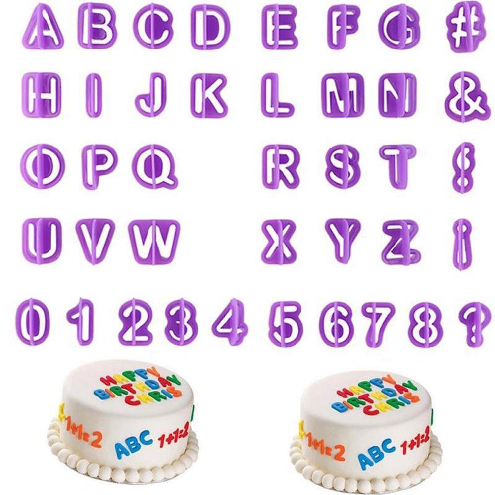 40pcs/set Alphabet Cake Molds Figure Plastic Letter Fondant Mold Cookie Cutter Number Cake Mould Baking Decorating Tools
