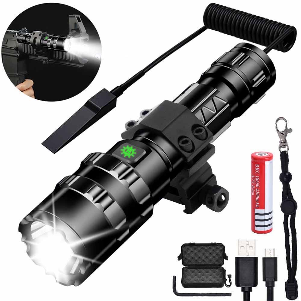 Tactical Flashlight Waterproof Hunting Light Torch Ultra Bright Lantern Military Shooting Light Lamp USB Rechargeable Flashlight