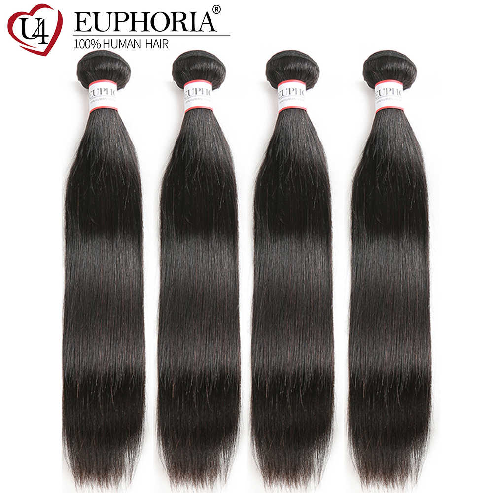 Euphoria Straight Hair Bundles Peruvian Human Hair Weave Bundles Natural Color 100% Remy Salon Bundle Hair Weaving 3/4 Pieces