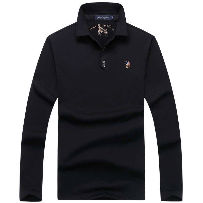 Cotton High Quality Men's Polo Embroidery Breathable Casual Long Sleeve Shirts Shirt Solid Color Polos European Size M-3XL;YA281
