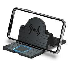 15 w sem fio carregador de carro almofada de silicone dobrável carregamento rápido doca estação montagem antiderrapante suporte do painel do carro para iphone xr