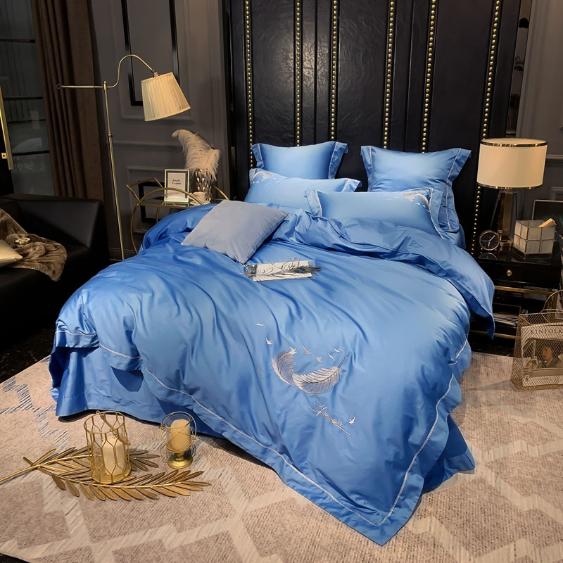 Luxury Egyptian Style With Embroidered Feather Bedding Set