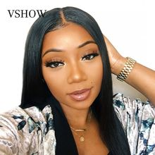 13x4 VSHOW Malaysian Straight Lace Front Wigs Remy Hair 150%-250% Density 13x6 Human With Baby