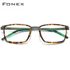 Image 2 - FONEX Acetate Alloy Eye Glasses Frames for Men Square Myopia Optical Prescription Eyeglasses Frames 2020 Screwless Eyewear 98629