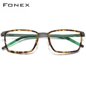 Image 2 - FONEX خلات سبائك العين إطارات النظارات للرجال مربع قصر النظر وصفة طبية البصرية العين إطارات النظارات 2020 بدون مسامير نظارات 98629