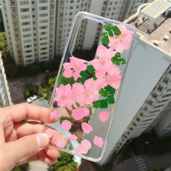 Pressed Dry Real Flowers Case for Galaxy S20 S20+,Soft Clear Flexible TPU Girls Floral Back Cover for S10 S10e 9 8 7,Note Series