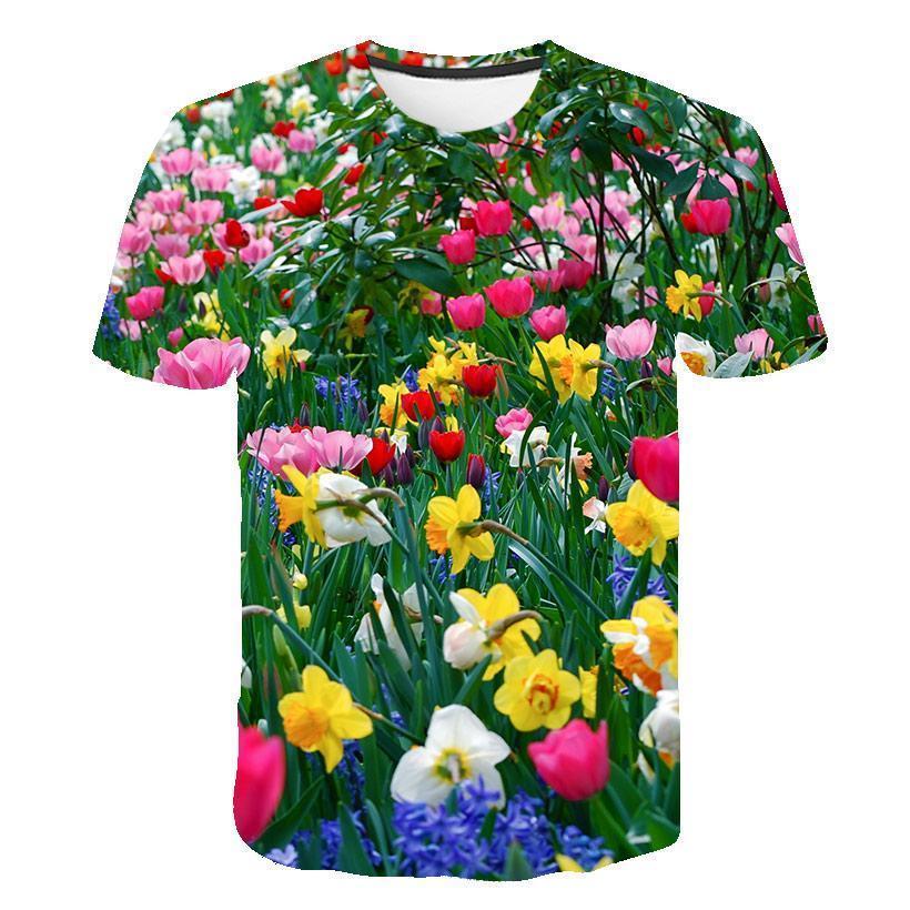 Men 'S Streetwear New Summer 3d Pink Tulip Flower T -Shirt Casual 3d Printing T -Shirt Plant Flower S -6xl