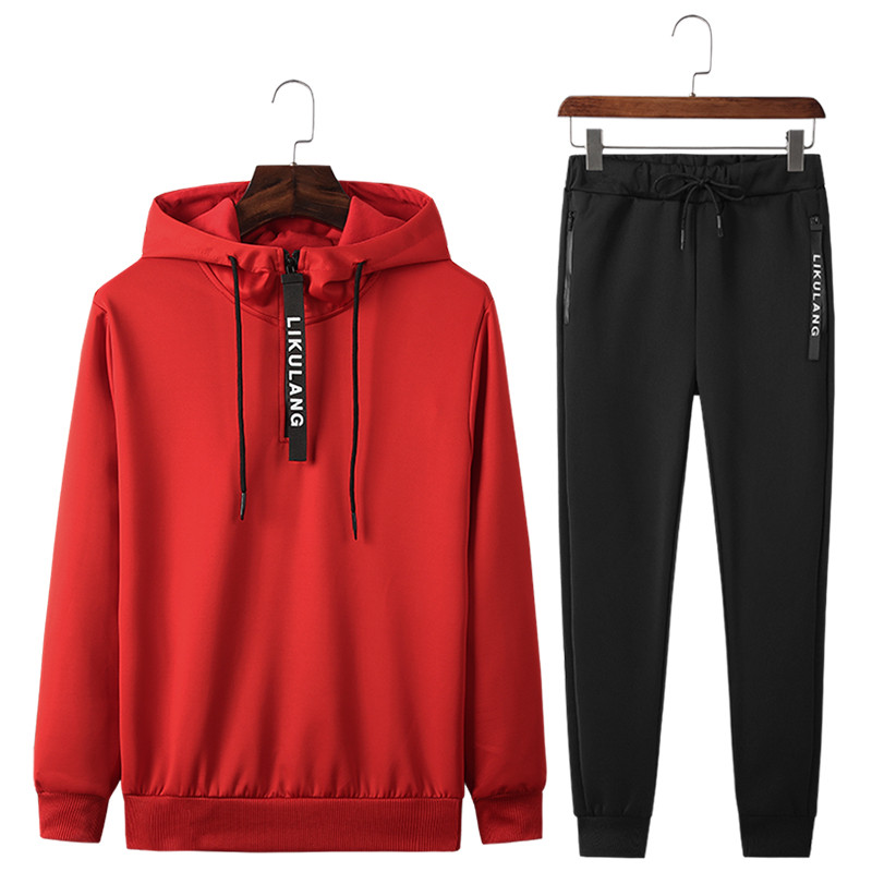 Men's Sportswear Sets New Spring Autumn Hooded Suit Male Casual Tracksuit Men 2 Piece Sweatshirt + Sweatpants Set Asian Size 4XL