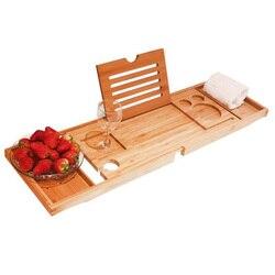 Бамбуковый поднос для ванной Регулируемый выдвижной органайзер для ванной комнаты с книжным планшетом, держатель для бокала вина, полотенц...