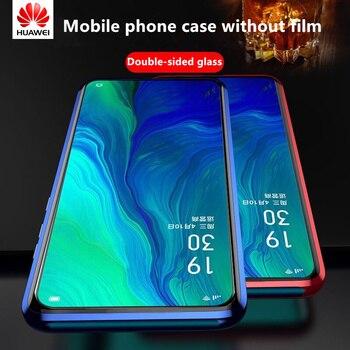 Перейти на Алиэкспресс и купить Магнитный металлический двухсторонний стеклянный чехол для телефона Huawei Honor 30S 30 V30 20i 20S 20 10 8X 9X V20 V10 10/20 Lite 20/30 Pro Magic 2