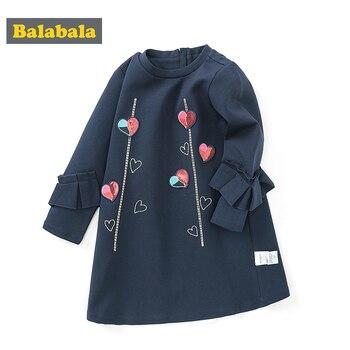 Balabala children clothing girl dress spring 2020 new baby comfortable long-sleeved