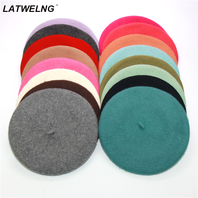 Wholesale Unisex Imitation Wool Warm Beret Beanie Hat Autumn Winter Caps Gift French Classic Solid wool Beret Women Painter hat