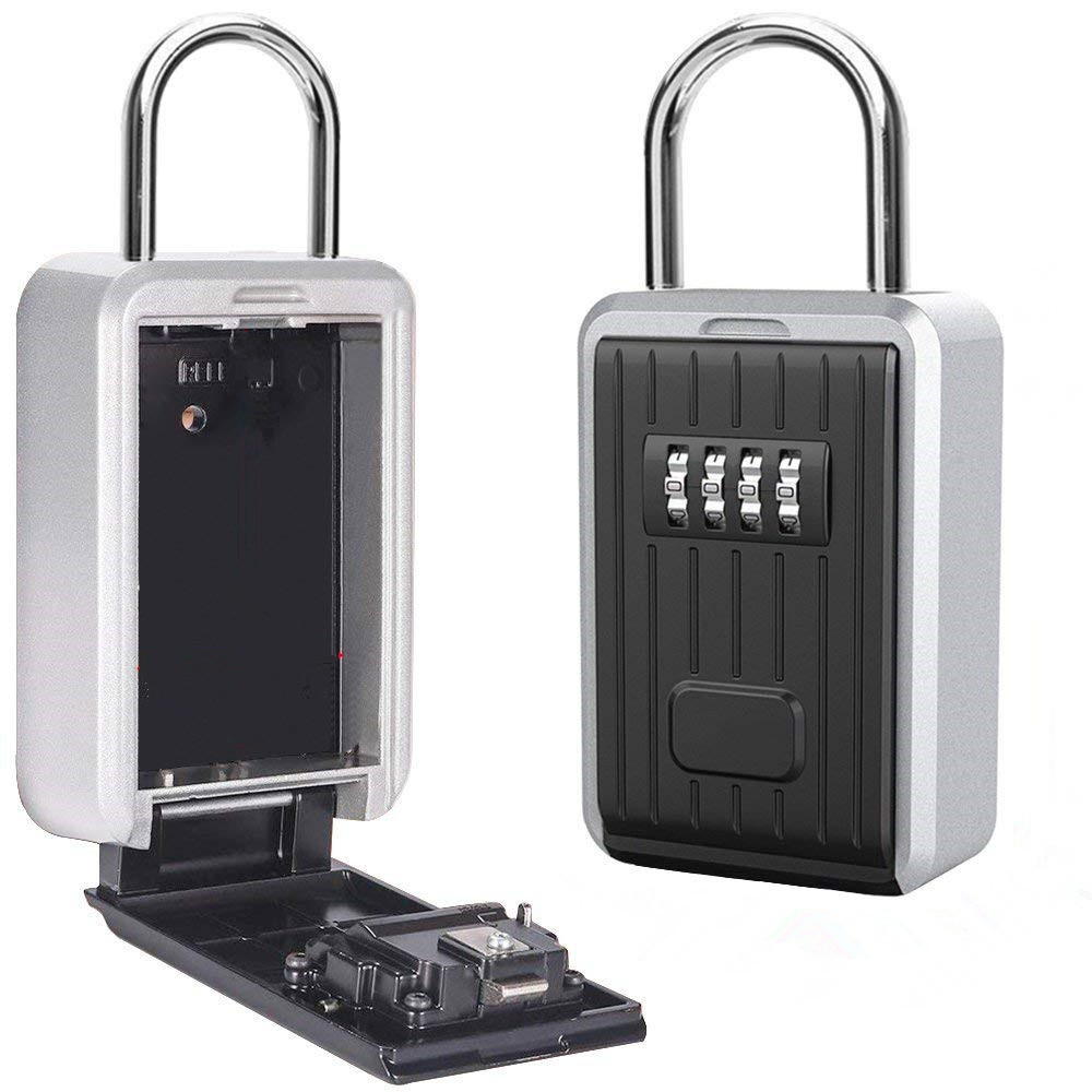 Key Safe Box Outdoor Key Storage Box Padlock Aluminum Alloy Password Combination Security Keys Hold Safes Home Factory Office