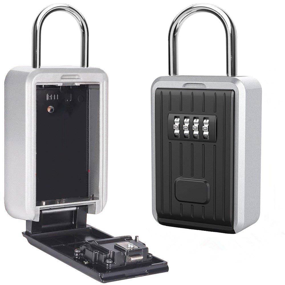 Key Safe Box Outdoor Key Storage Box Padlock Aluminum Alloy Password Combination Security Keys Hold Safes Home Factory Office