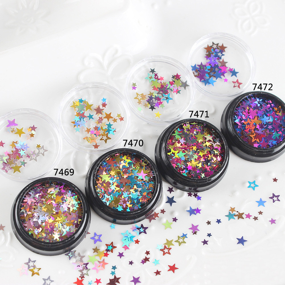 3+4+6mm Star Hollow Sequin Mix In Festive Color Iridescent Sprinkles Rainbow Confetti Flakes Bling Bling Embellishment Resin Art