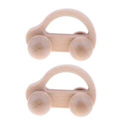 2PACK Wooden Baby Rattle Montessori Sensory Toy Newborn Development Car Toy