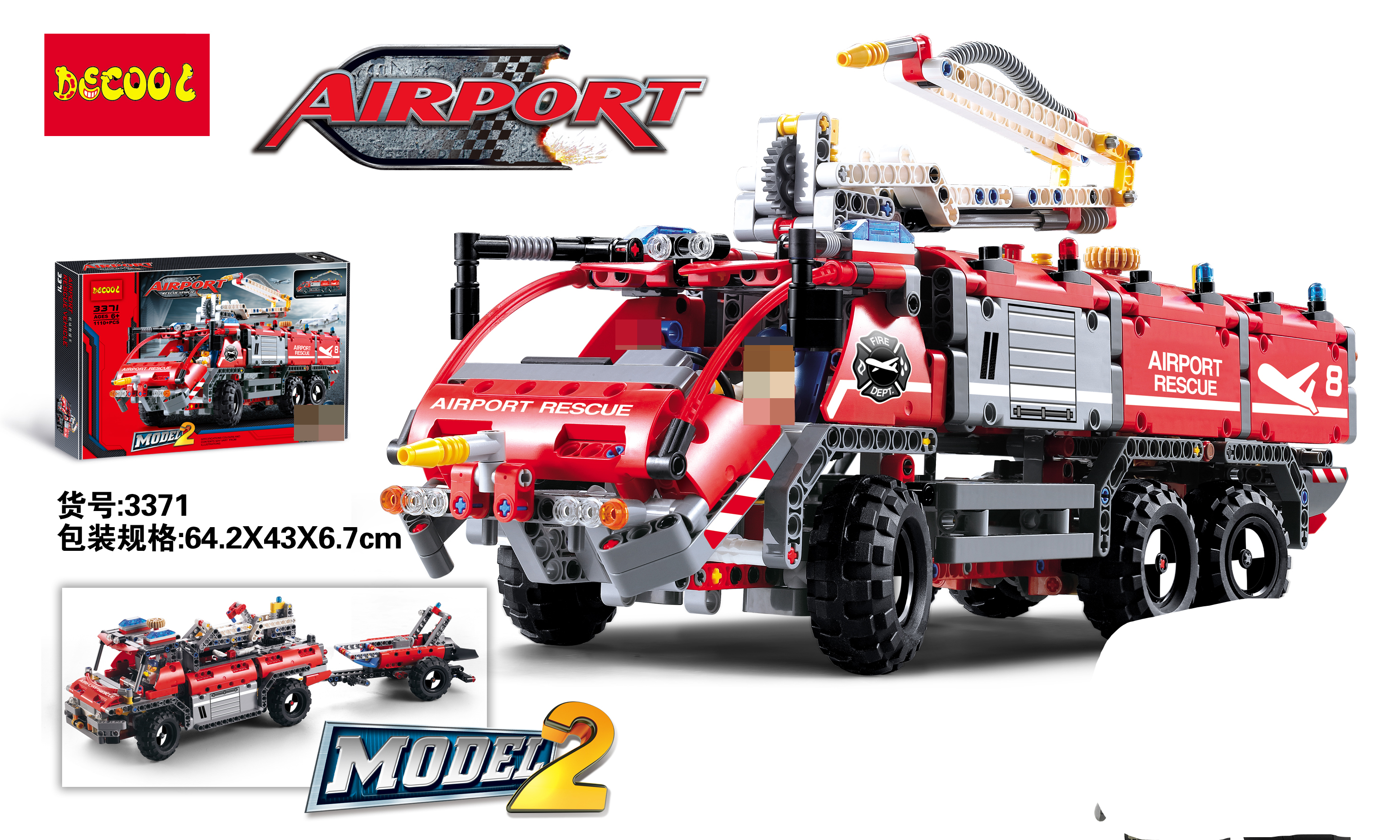 Airport Rescue Vehicle DECOOL TECHNIC compatible legoly 42068 firefighter Building Blocks bricks toys for children City