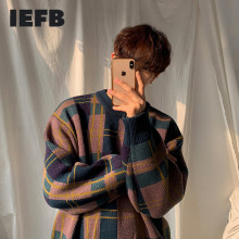 IEFB odzież męska jesień zima ocieplany sweter koreański mody color block patchwork pled luźne veintage z dzianiny topy męskie 3242