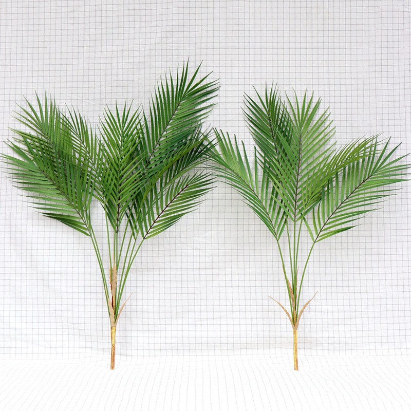 Green Artificial Palm Leaf Plastic Plants Tropical Tree Branch Fake Plants Jungle Home Garden Decor Wedding Decoration Accessory