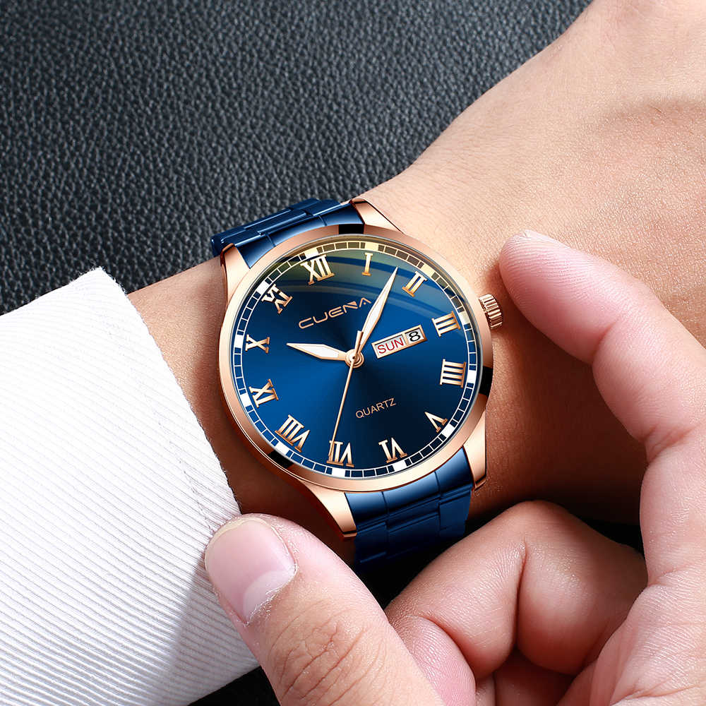 Cuena 2020 Mới Nam Kinh Doanh Dây Thép Lịch Đồng Hồ Thạch Anh Reloj Hombre Nam Đồng Hồ Nữ Cao Cấp Đồng Hồ Cao Cấp