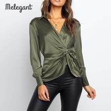 Melegant Solide Sexy Wrap Bluse Frauen Herbst Winter 2019 Neue Satin Bogen Bluse Shirts Grün Vintage Fashion Club Mujer Blusas(China)