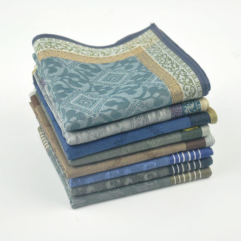 44*44cm Gentlemen Striped Square Pocket For Men Cotton Hankerchief Paisley Pattern Hanky Wedding Designer Chest Towel