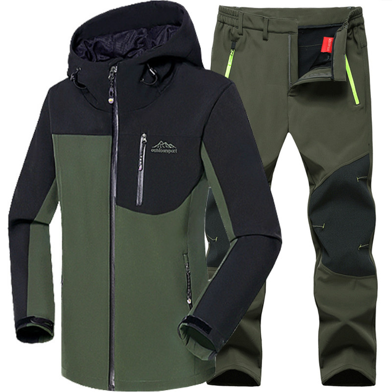 Man Winter Waterproof Fishing Skiing Warm Softshell Fleece Hiking Outdoor Trekking Camping Jacket Set Pants 5XL Climb|Hiking Jackets| |  - title=