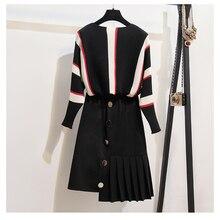 HAMALIEL L-4XL комплект из двух предметов на осень-зиму Для женщин Модный вязанный, с большим треугольным вырезом рукав свободный свитер ярких цветов с пуговицами+ плиссированная юбка комплект