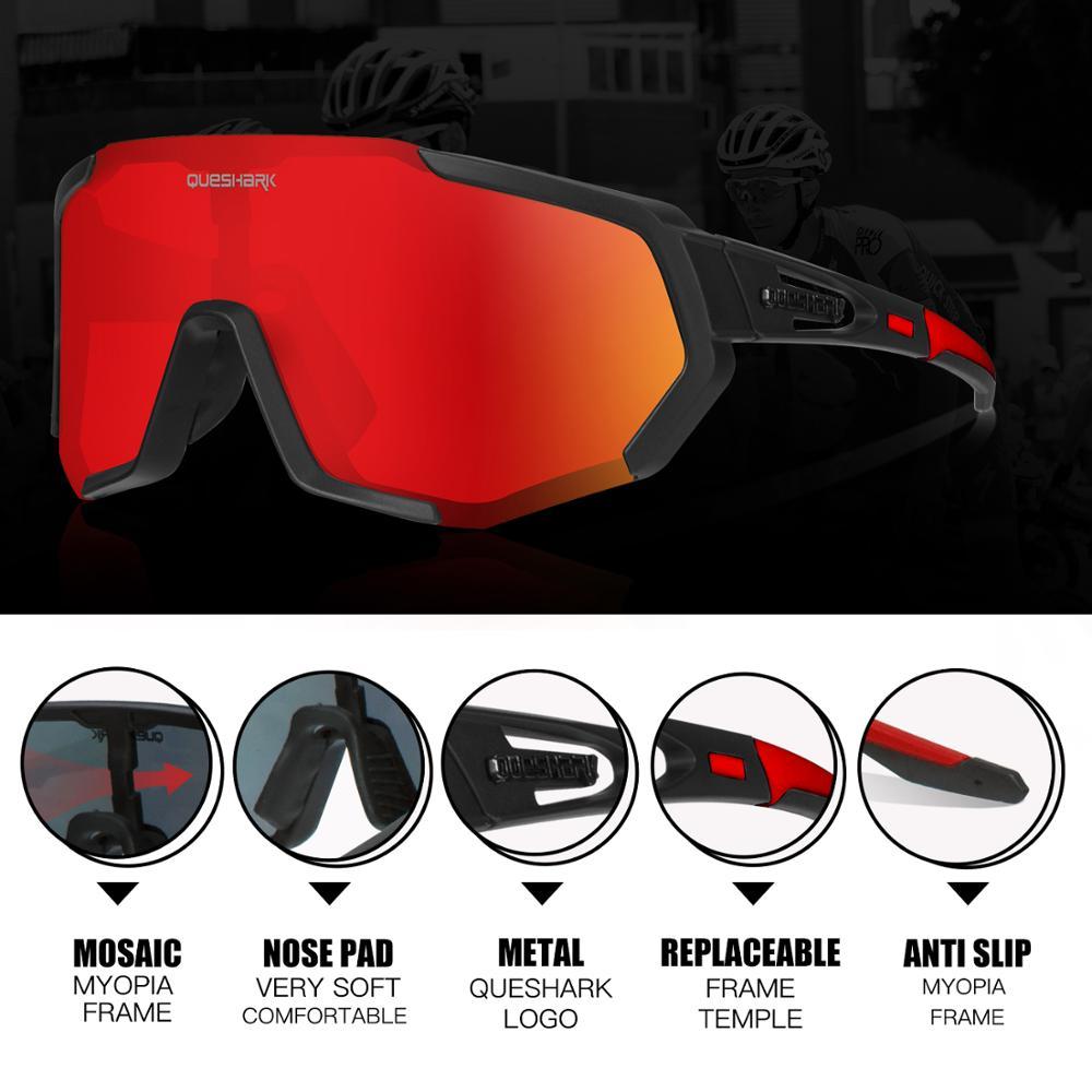 QUESHARK Polarized Cycling Glasses For Man Women Bike Eyewear Cycling Sunglasses 4 Lens UV400 Sport Glasses QE48 4