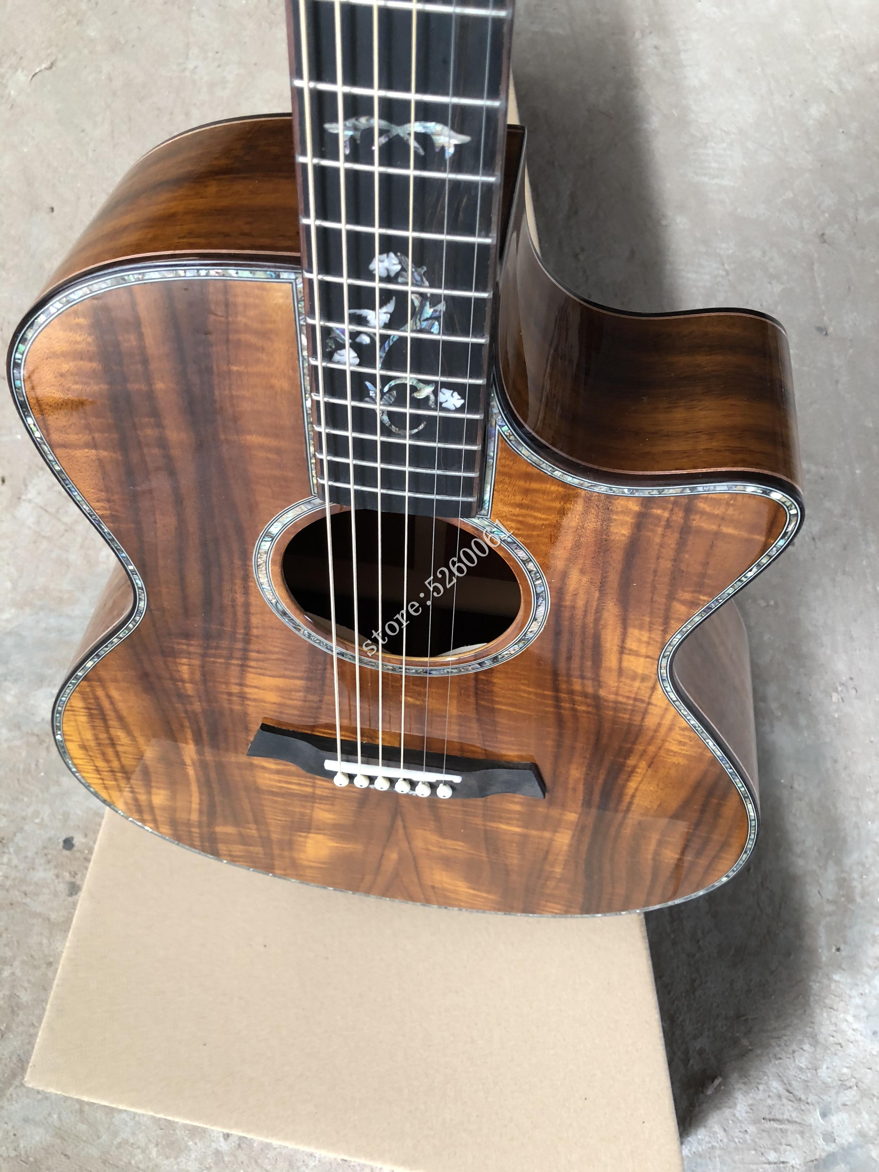 Guitare acoustique de haute qualité 41 pouces koa wood GA cutaway 916, guitare électrique ébène