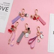 Mini Creative Crystal Cherry Key chain Cute Cartoon love Ribbon Keychains Women Bag Car Fashion Gift KeyRing Pendant
