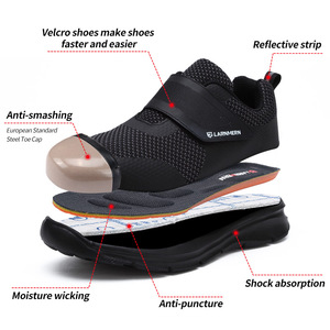 Image 2 - LARNMERN Work shoes Mens Steel Toe Safety Shoes Construction Protective Lightweight Shockproof Boots Hook&loop Sneakers safety