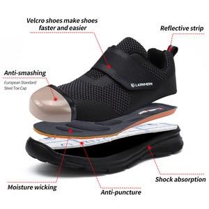 Image 2 - LARNMERN أحذية عمل الرجال الصلب أحذية سلامة بفتحة لأصبع القدم البناء واقية خفيفة الوزن للصدمات الأحذية هوك وحلقة أحذية رياضية السلامة