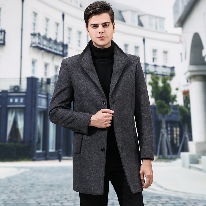 Woolen Coat Men's Fashion Wool Coat Male Casual Slim Collar Wool Long Coat Mens Collar Trench Jacket Autumn And Winter Overcoat