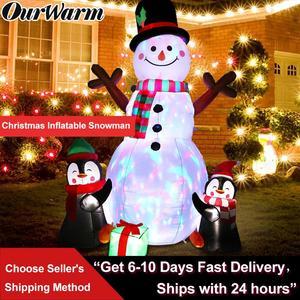 OurWarm 183 см рождественские украшения обновленный Снеговик надувной реквизит надувная игрушка для внутреннего и наружного использования сад...