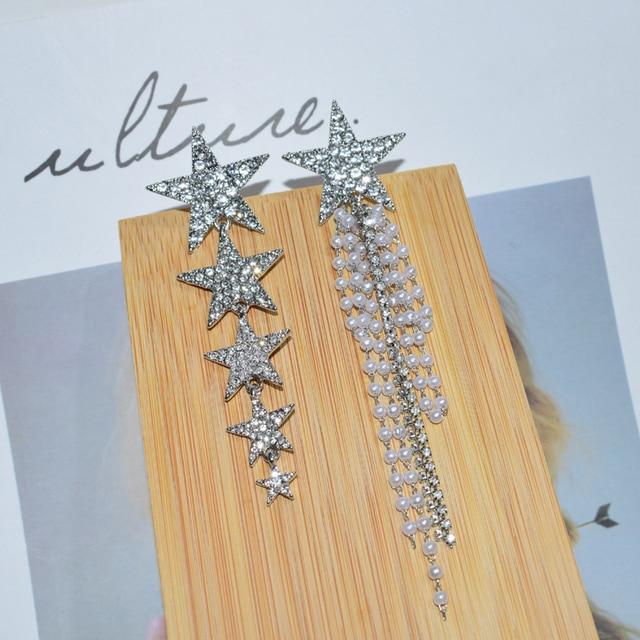AENSOA Fashion Crystal Star Long Drop Earrings For Women Trendy Pearl Tassel AB Style Earring Gift Statement Party Jewelry 2020