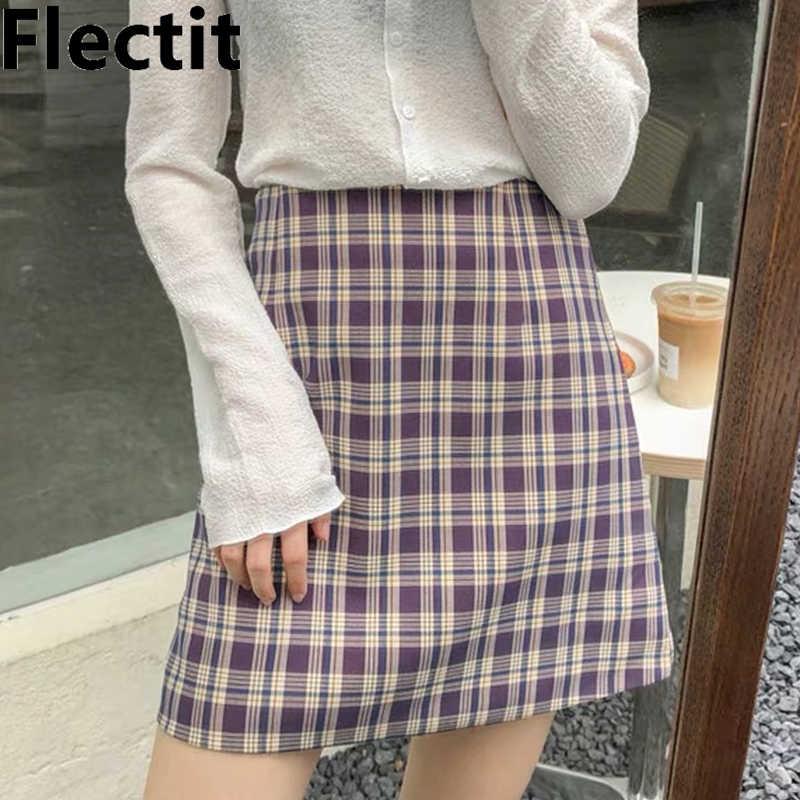 Flectit fioletowy bawełniany materiał w kratkę kolorowa spódnica Mini w szkocką kratkę z wysokim stanem krótka spódniczka z linii kobiet letnie spódnice Harajuku strój