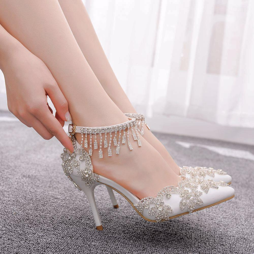 Best Discount 842d Crystal Queen Women White Crystal Shoes