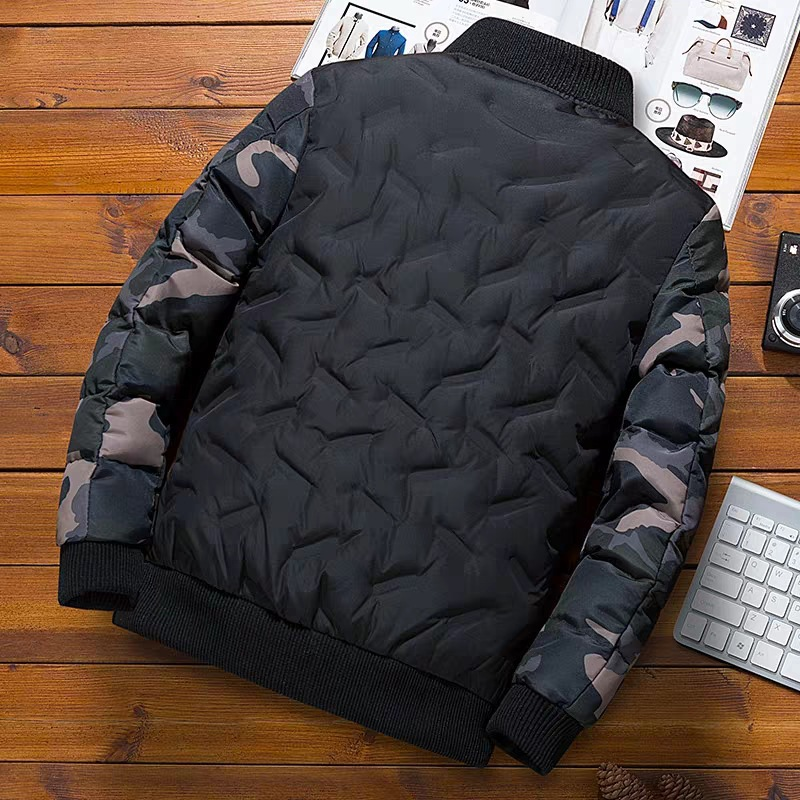 NaranjaSabor Winter Mens Bomber Jacket Warm Windproof Overcoats Male Camouflage Patchwork Fashion Parkas Brand Clothing N633 4