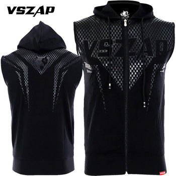 VSZAP summer jacket sports fitness hooded sleeveless vest combat MMA Fight sashimi Contortion bodysuit cardigan vest breathable image