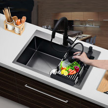 Lavabo noir en acier inoxydable 304, accessoires de Cuisine, à montage unique ou directe, bol