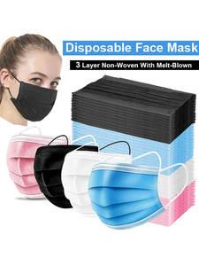 Mouth-Masks Mascarillas Disposable Anti-Dust Elastic 3-Layer Ear-Loop Non-Woven 10/50/100pcs
