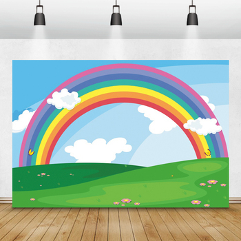Laeacco Birthday Photophone Blue Sky White Clouds Rainbow Grassland Photography Backgrounds Custom Photographic Backdrops Props