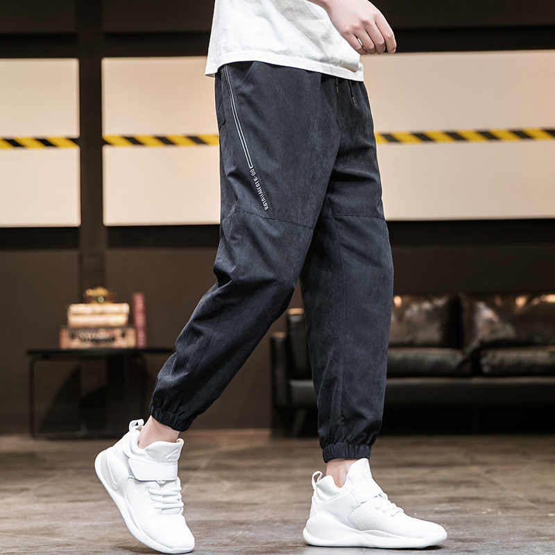 Streetwear 힙합 조깅 바지 남성 느슨한 하렘 바지 발목 길이 바지 스포츠 캐주얼 운동복 블랙 Techwear